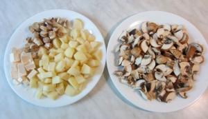 Сыр, грибы и картофель